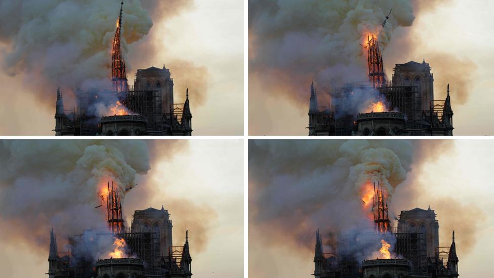 Foto-foto di atas menunjukkan proses runtuhnya puncak menara saat kebakaran