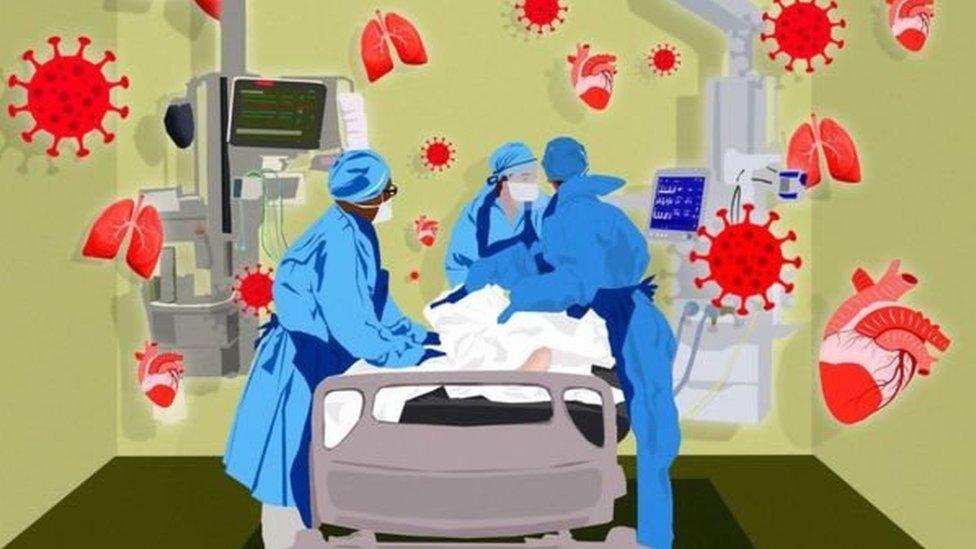 gambar ilustrasi perawatan pasien Covid-19.