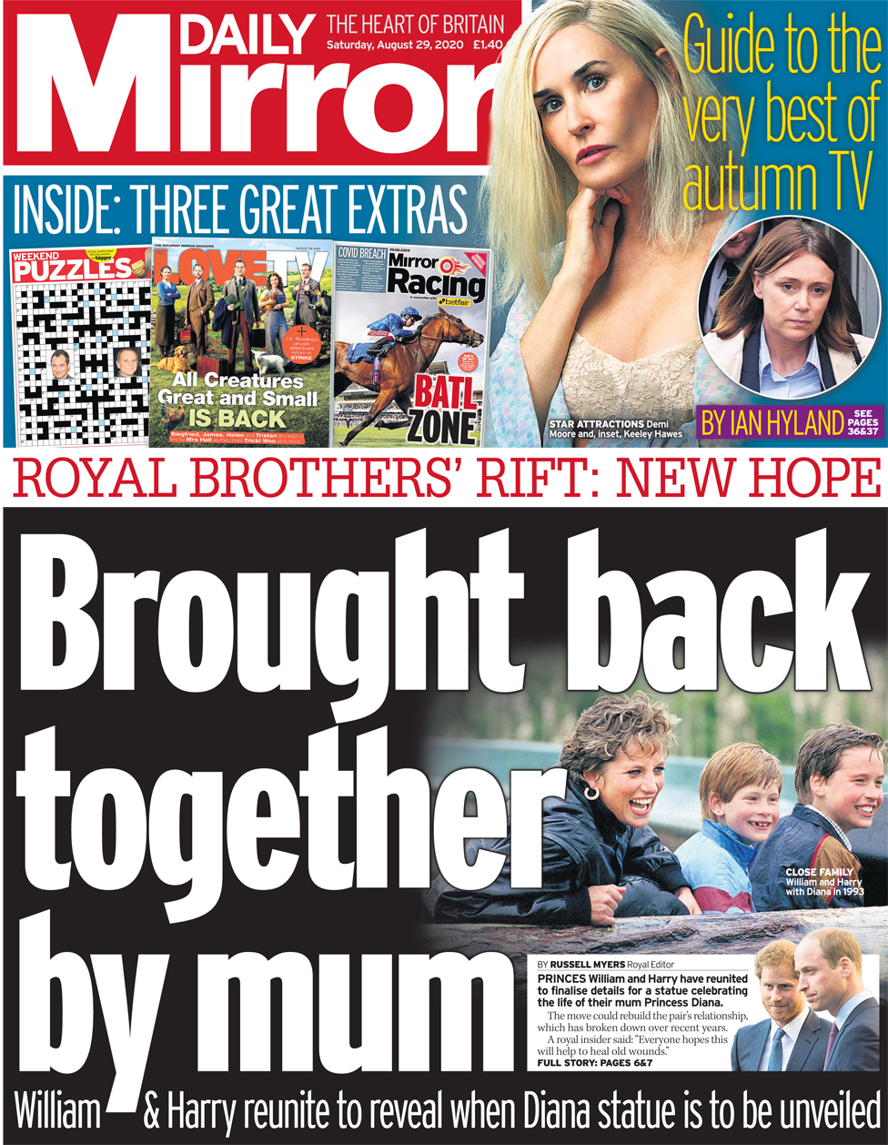The Daily Mirror front page 29 August 2020