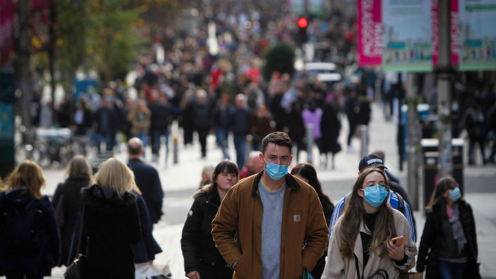 Members of the public in Glasgow city centre on October 24, 2020 in Glasgow, Scotland