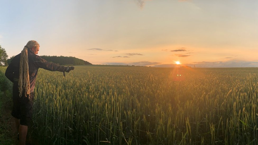 Paul records barley field as sun sets in Shropshire