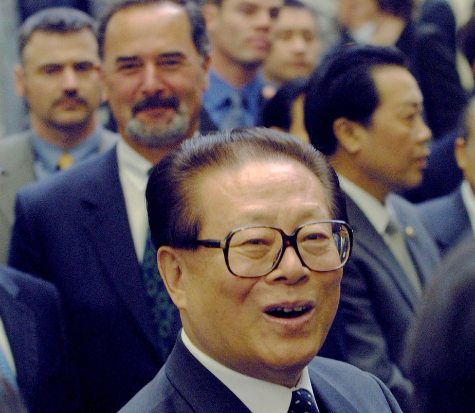 Chinese President Jiang Zemin tours the Volkswagen factory April 12, 2002 in Wolfsburg, Germany. Jiang is on a five-day official visit to Germany to mark 30 years of diplomatic relations between the two countries.