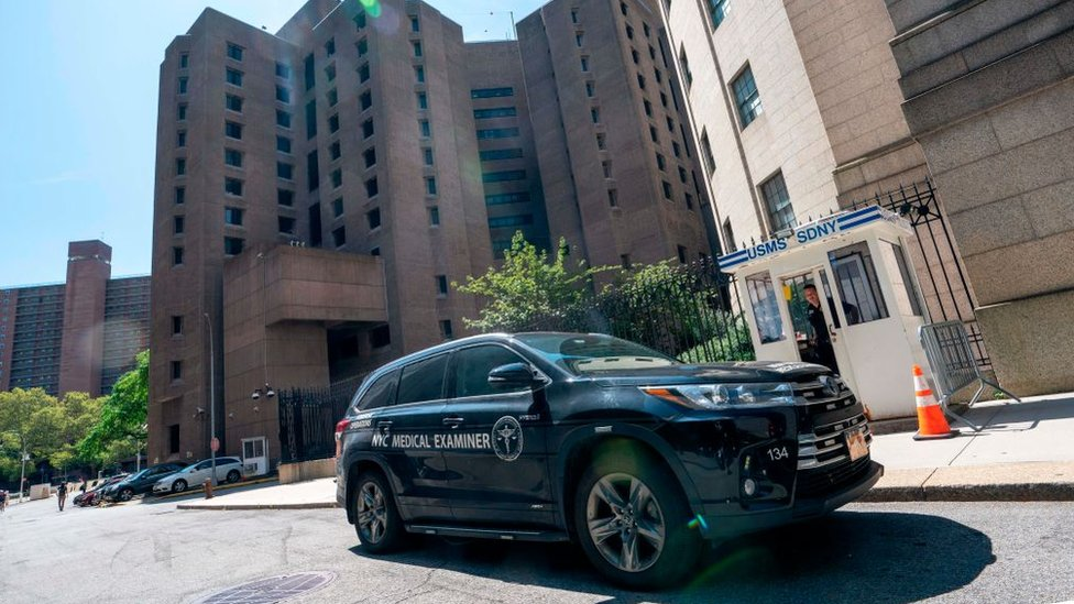 A New York Medical Examiner's car is parked outside the Metropolitan Correctional Center