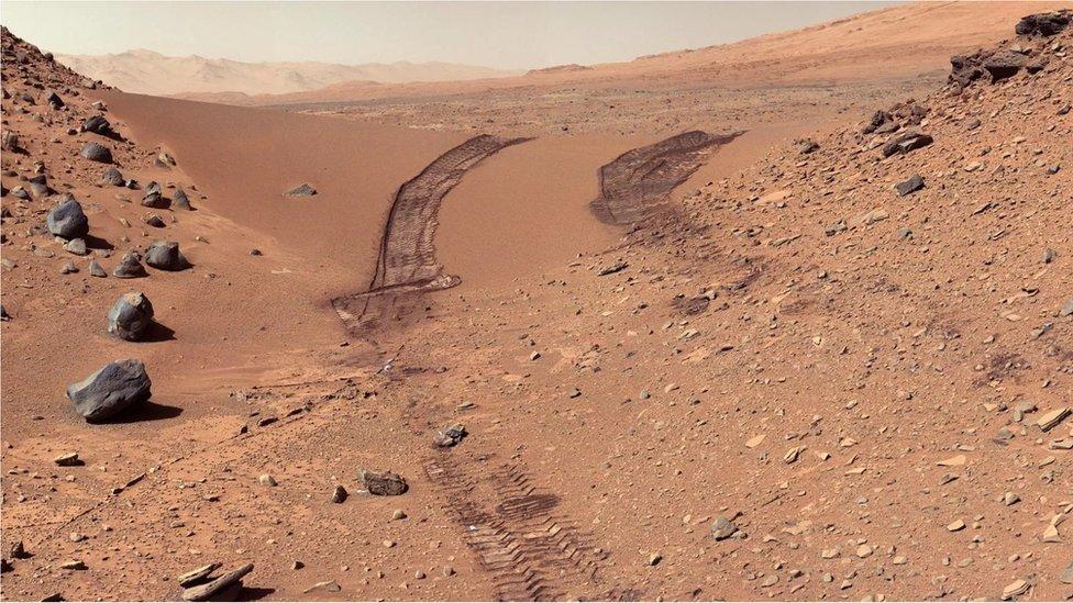 Huellas de una misión de exploración en Marte