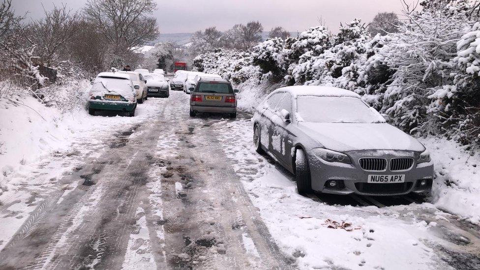 Cars abandoned near Ashcombe