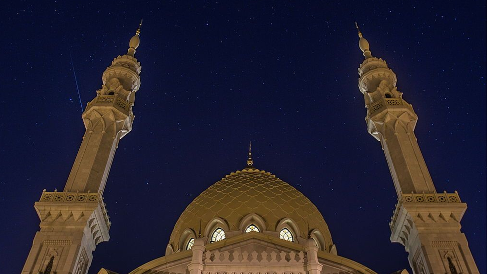 The Perseid Meteor Shower over the White Mosque in the town of Bolgar, Russia