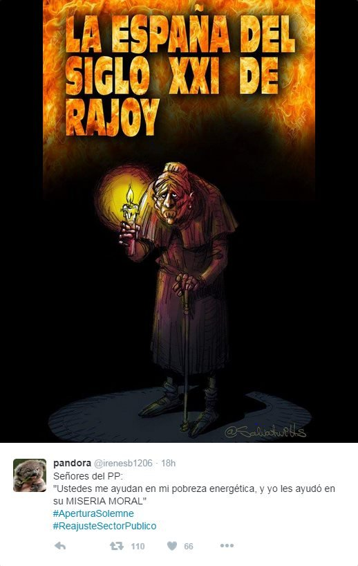 "Cartoon posted by Twitter user @irenesb1206 depicting an old woman with a candle, reading: ""[Prime Minister Mariano] Rajoy's 21st Century Spain"""