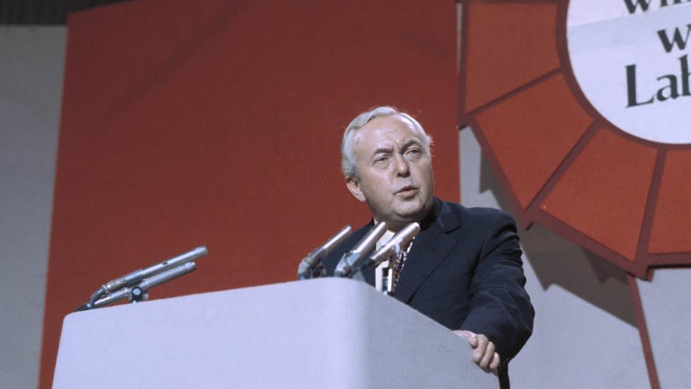 هارولد ويلسون في مؤتمر حزب العمال