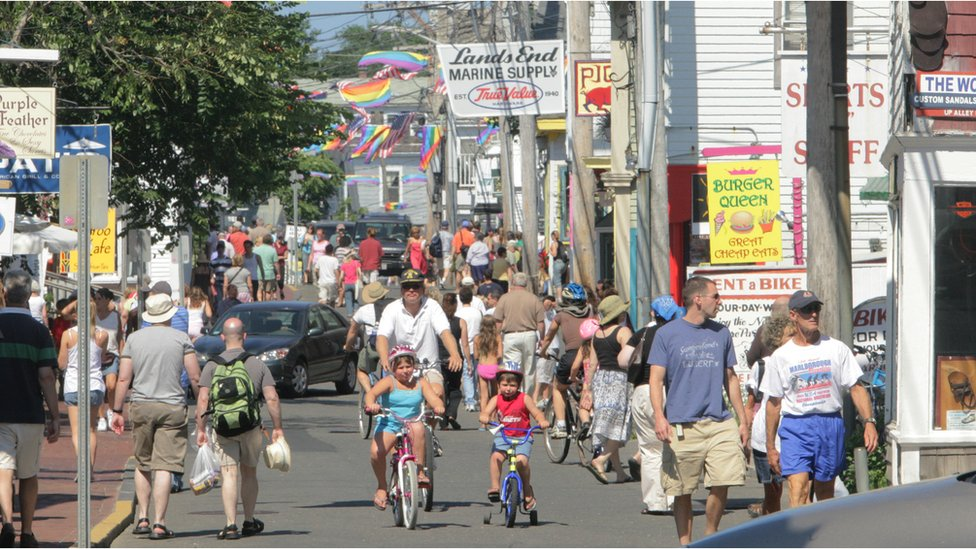 a crowded street in Provincetown in 2006