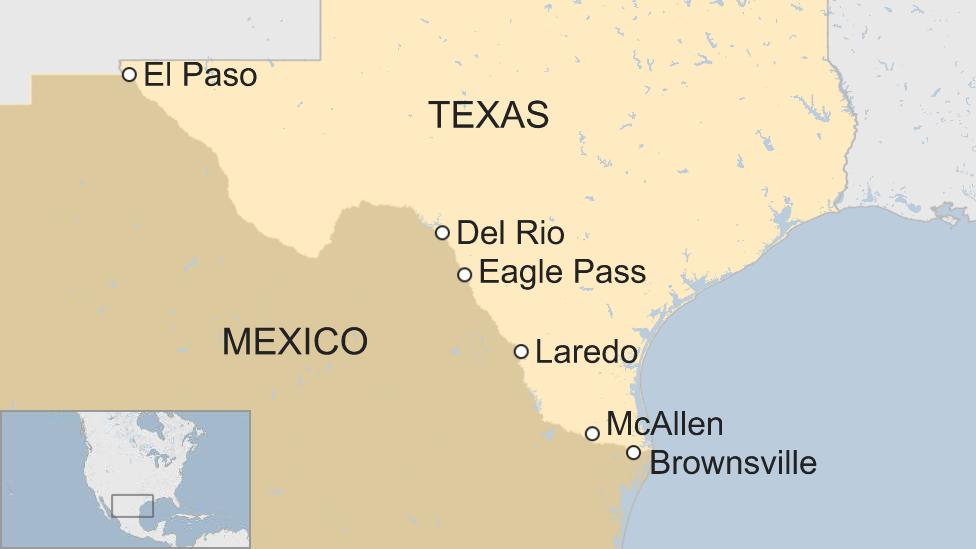 Un mapa de ciudades fronterizas de Texas