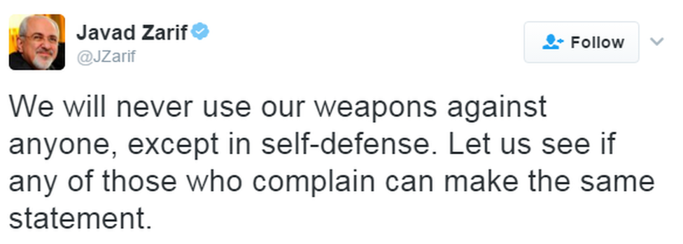 """A tweet reads: """"We will never use our weapons against anyone, except in self-defense. Let us see if any of those who complain can make the same statement."""""""