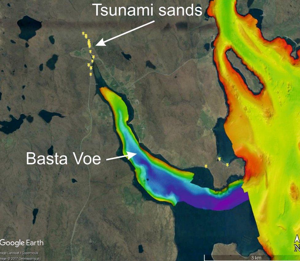 Google Earth map of Basta Voe on Yell