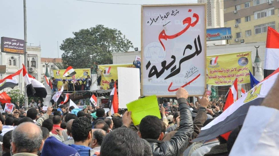 A day before the constitutional referendum, the Muslim Brotherhood called for a demonstration in support of the draft constitution. he protest took place at Raba'a Al-Adawiya Mosque, the corner of Nasr Road and al-Taiaran Street, Cairo, Egyp Friday 14th December 2012,