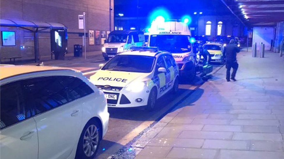 Police cars outside Manchester Victoria