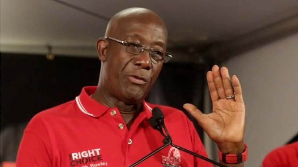 Trinidad and Tobago Prime Minister Keith Rowley addresses the audience while claiming victory for his ruling party in a general election in Port of Spain, Trinidad and Tobago, August 10, 2020.