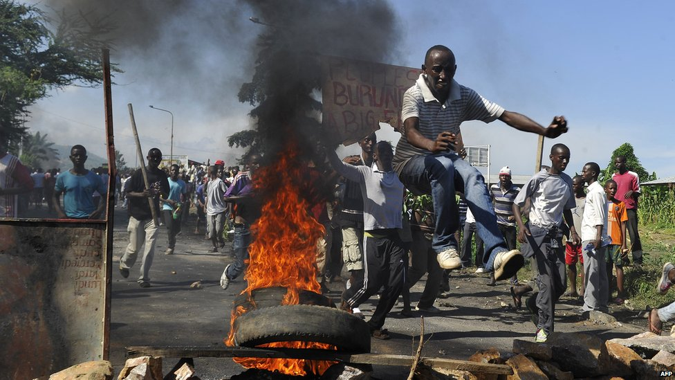 Burundians protest in the capital Bujumbura against plans by President Pierre Nkurunziza to stand for a third term.