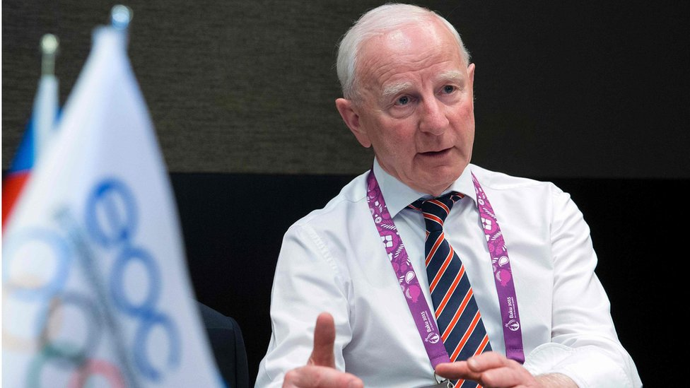 Patrick Hickey of Ireland speaking during an interview at the 2015 European Games in Baku (June 2015)