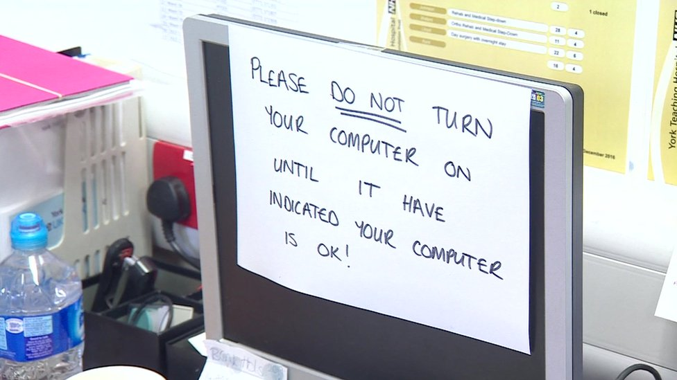 An NHS computer affected by the ransomware