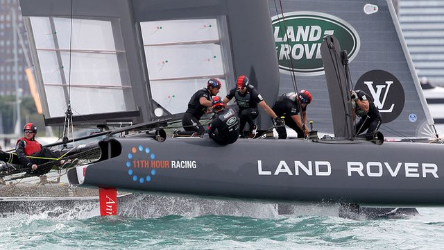 Land Rover BAR sails during day two of the America's Cup World Series race in Chicago