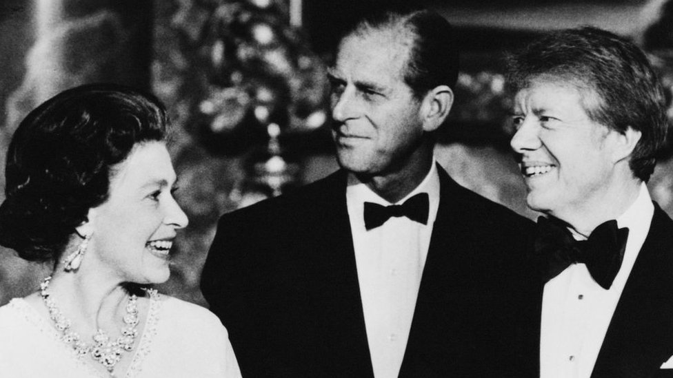Queen Elizabeth II and Prince Philip (centre) with US President Jimmy Carter