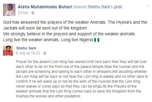 "A Facebook post, saying: ""God has answered the prayers of the weaker Animals, The Hyena's and the Jackals will soon be sent out of the kingdom ."