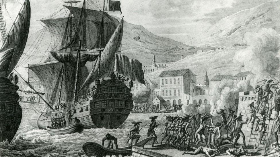 Desembarco de las tropas francesas en Saint Domingue.