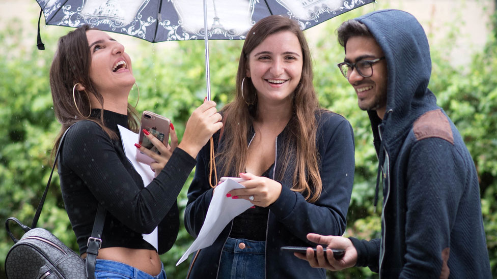 Students celebrate their A Level results from Ark Academy in Wembley, London