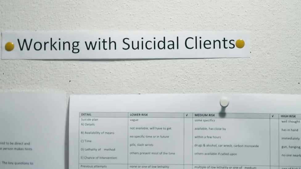 Pin board with notes on how to work with suicidal callers