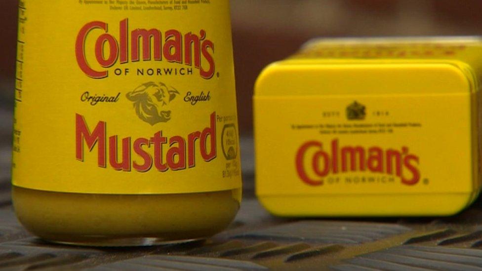 Jar and tin of Colman's Mustard