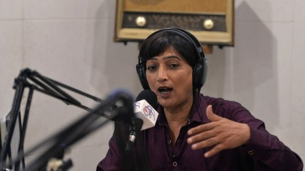 Nadeem Kashish takes part in a campaign event on her radio programme in Islamabad, 5 July 2018