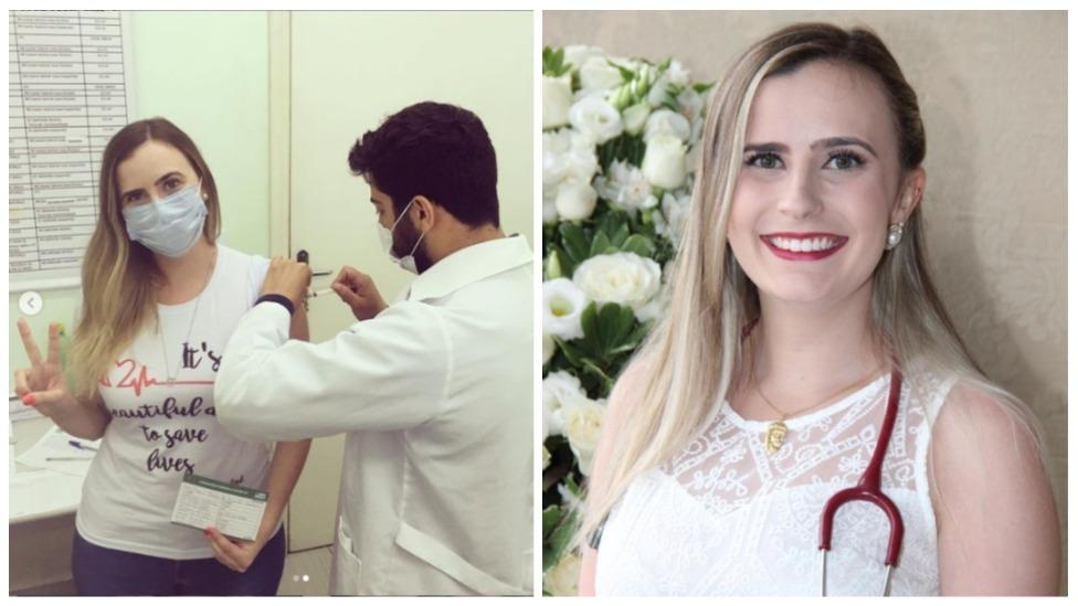 Médica Maria Flávia sendo vacinada contra a covid-19