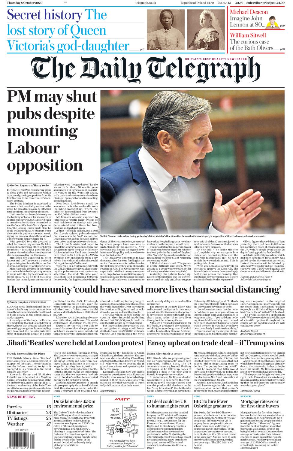 Newspaper headlines: PM 'considering closing pubs' as virus 'surges' thumbnail