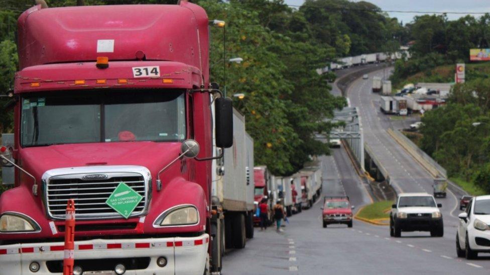 Bloqueos en la frontera de Costa Rica con Panama.