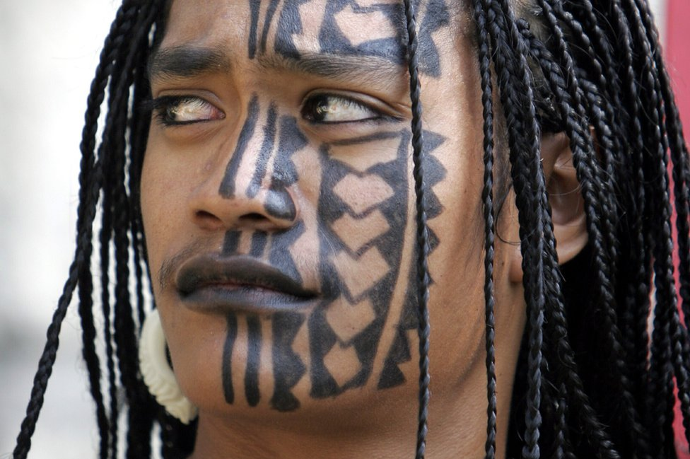File pic of Pacific Islander woman with facial tattoos