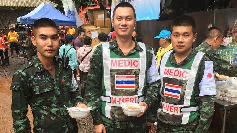 Medics at the cave