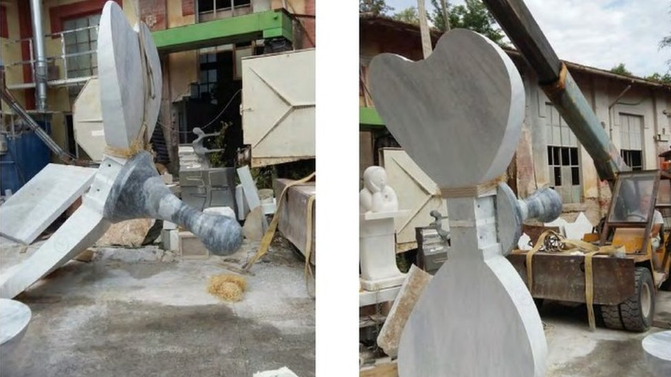 Moving the sculpture ready for packing