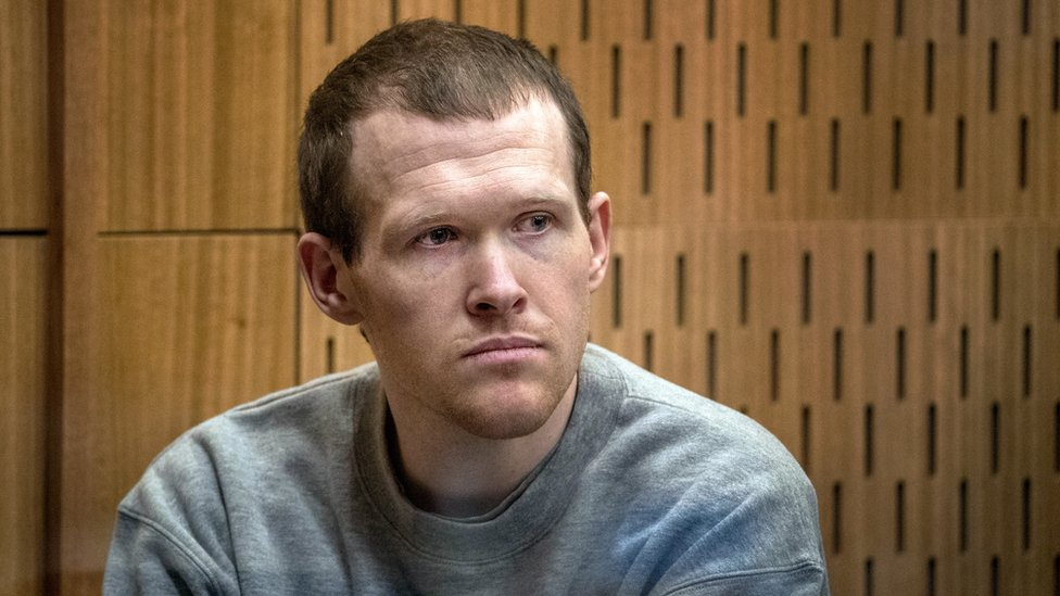 Brenton Tarrant during sentencing at the High Court in Christchurch