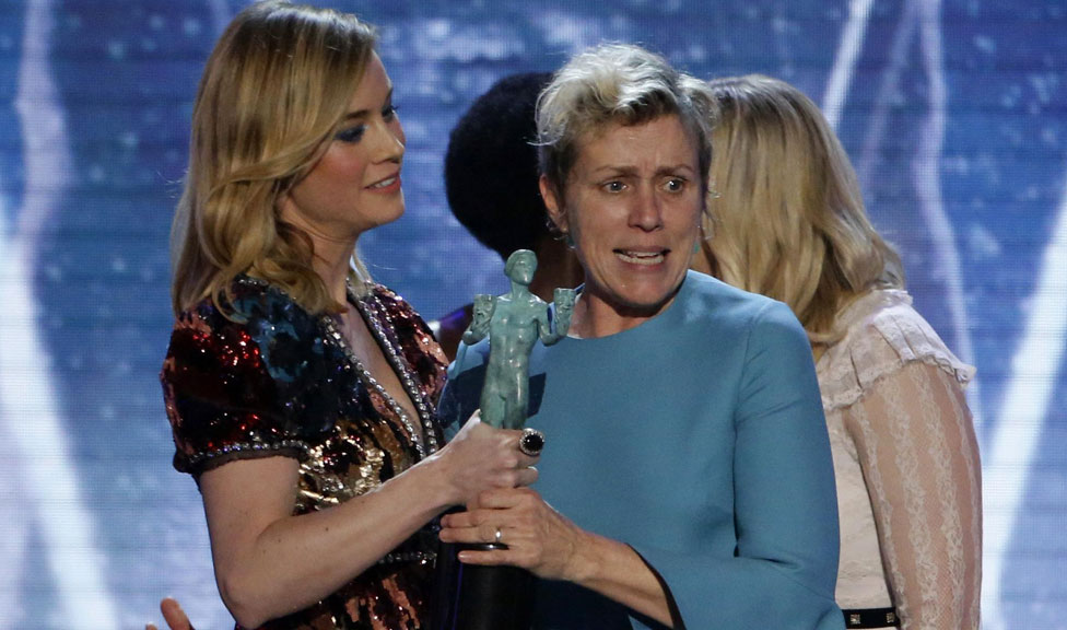 Frances McDormand with Brie Larson at the Screen Actors Guild awards