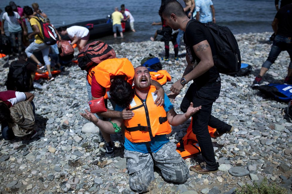 Syrian refugees come ashore on Lesbos, Greece, 7 Sep 15