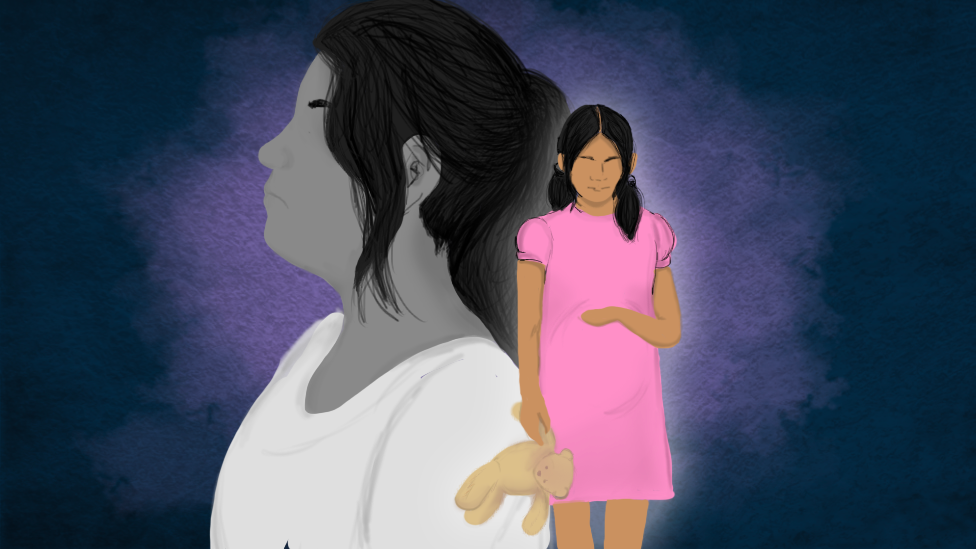 Ilustración de niña madre