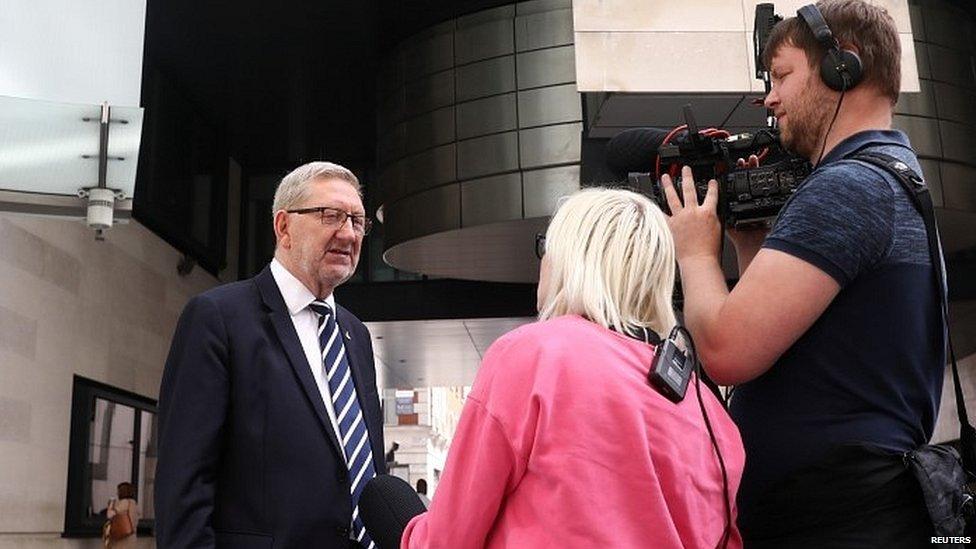 Unite general secretary Len McCkuskey talking to the media