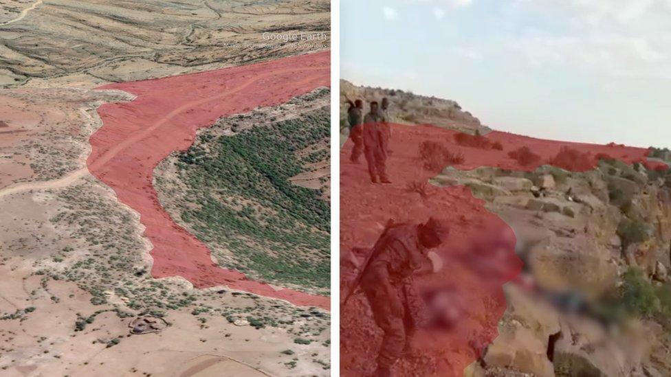 التضاريس الجغرافية المميزة للمنطقة الظاهرة في الفيديو جاءت مطابقة لصور القمر الصناعي