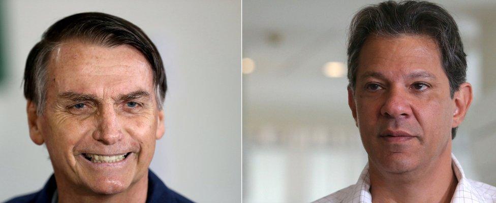 Žair Bolsonaro (levo) i Fernando Hadad (desno)