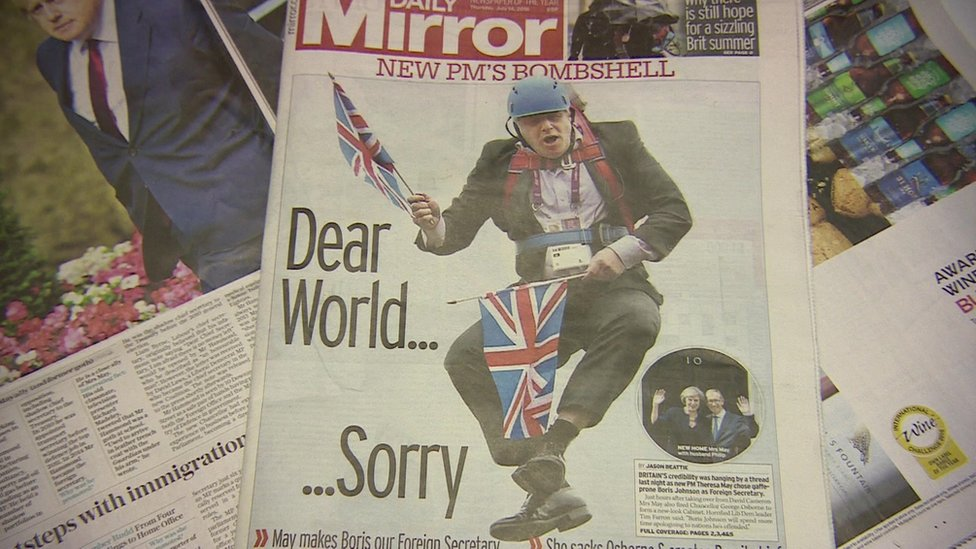 Boris Johnson pictured on the front page of newspaper