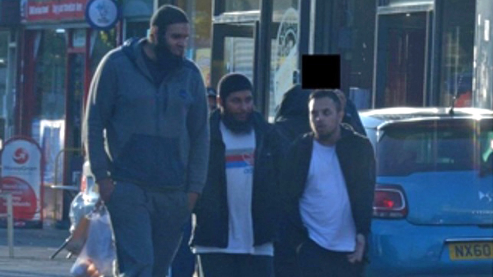 Handout image issued by West Midlands Police showing surveillance picture of (L-R) Naweed Ali, Khobaib Hussain and Mohibur Rahman on Coventry Road in Birmingham.