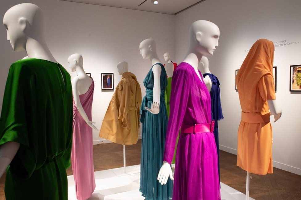 Dresses in an array of colours displayed on mannequins