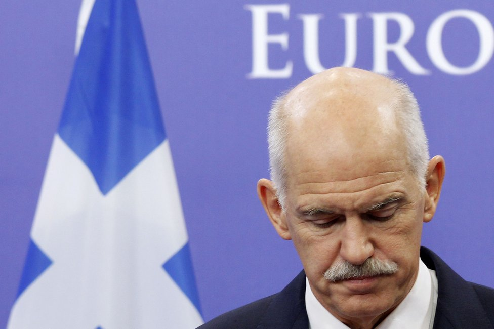 Greek Prime Minister George Papandreou briefs the media after a meeting with European Council President Herman Van Rompuy in Brussels, 13 October 2011