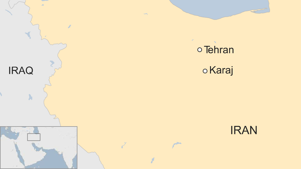 Map showing the location of Karaj in Iran