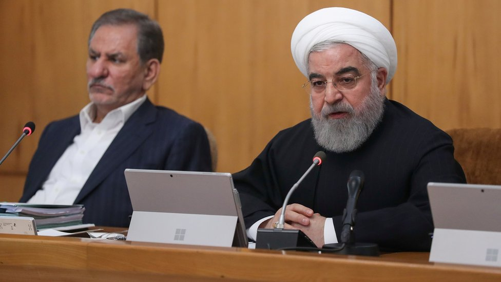 Iranian President Hassan Rouhani speaks at a cabinet meeting in Tehran on 20 November 2019