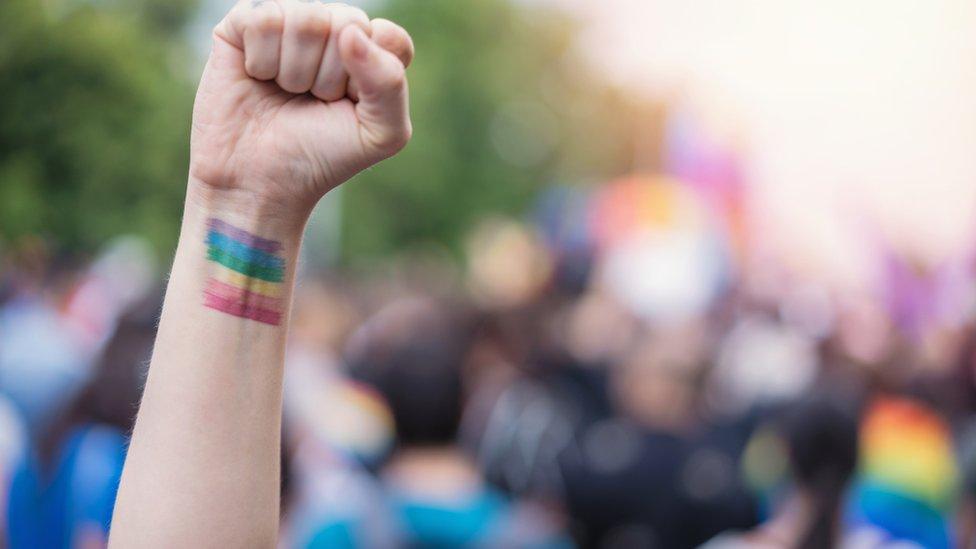 صورة لرسم علامة المثليين التي هي عبارة عن ألوان قوس قزح